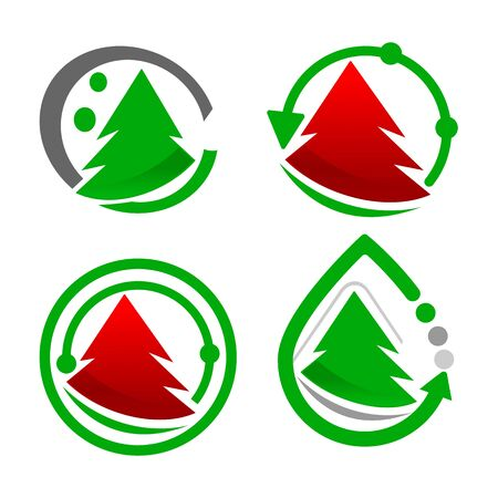 set Pine Tree Logo Vector, green and red color Stock Illustratie
