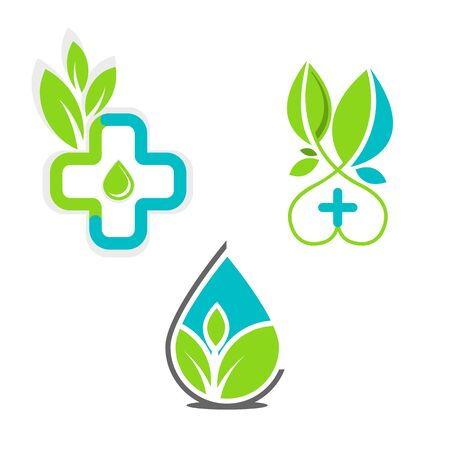 Vector set of medical logo icons with cross. Collection of signs with plus symbol and leaf. Stock Illustratie