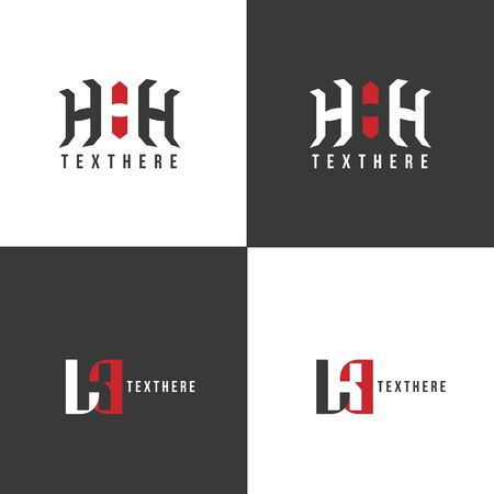 Logo three letters H. HHH Initials, icon design template. Stylish vector emblem for your design. Black white version. Stock Illustratie