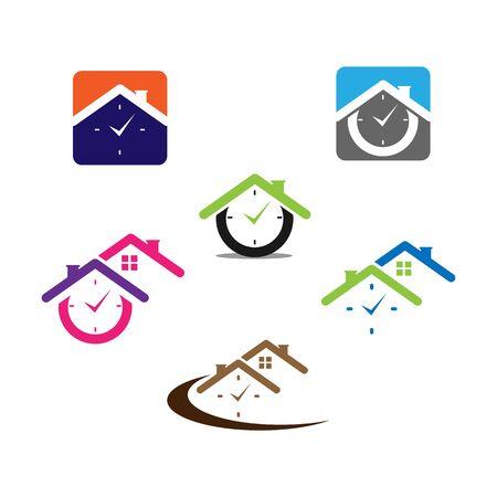 set Time House Icon Logo Design Element