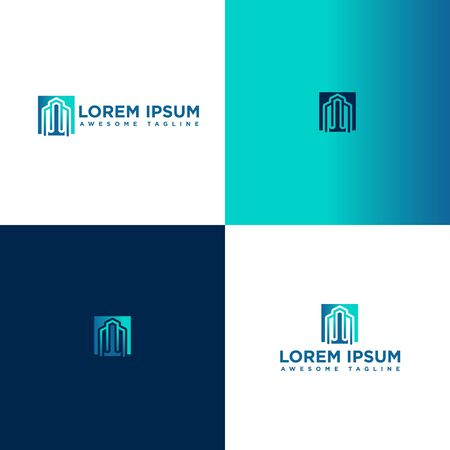 Real Estate Business Logo Template, Building, Property Development, and Construction Logo Vector with luxury blue color