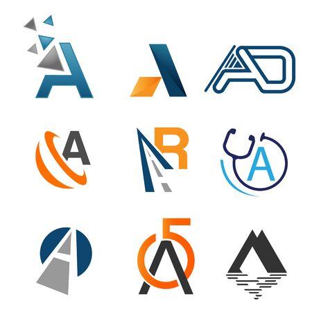 Set of letter logo design template elements collection of vector letter A logo