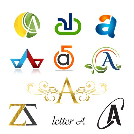 Set of letter logo design template elements collection of vector letter A logo