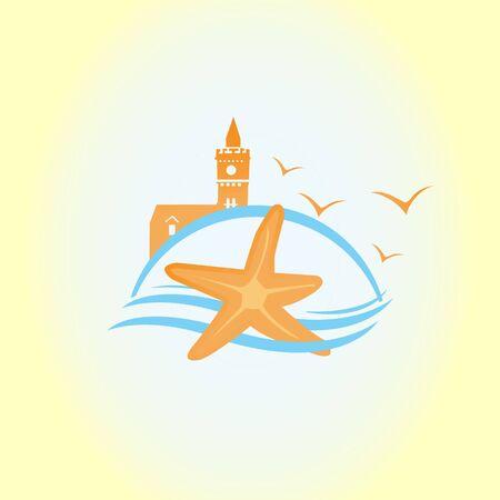 Starfish in flat style. Marine icon in cartoon style. Summer vector illustration.  イラスト・ベクター素材