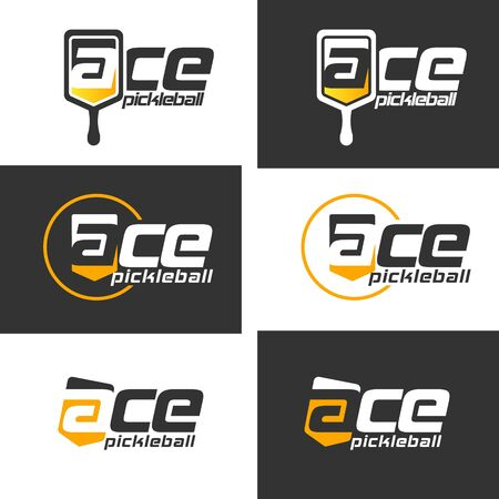 Pickle ball racket logo illustration  イラスト・ベクター素材