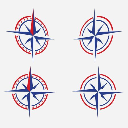 Vector geography science compass sign icon. Compass wind-rose illustration red and blue in flat minimalism style. Stock Illustratie