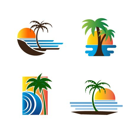 Palm tree icon for summer and travel logo vector illustration design Stock Illustratie