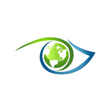 Earth symbol inside eye vector symbol on the white background. Eye icon vector in modern flat style for web and mobile design. Vector illustration EPS.8 EPS.10