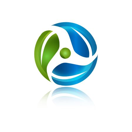 Green Environmentally Eco Friendly Renewable symbol ecology logo design vector illustration 向量圖像