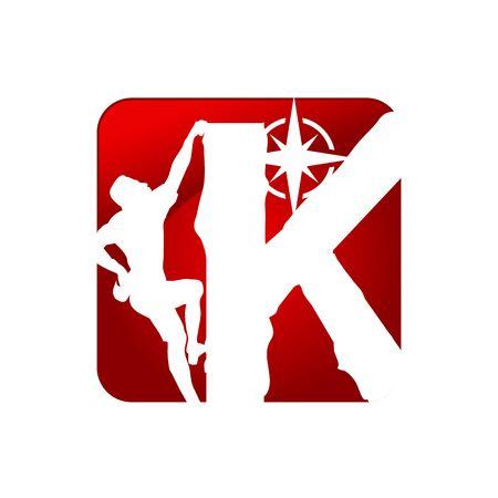Illustration design symbol people climbing in letter K. Extreme sport climbing symbol icon. Vector illustration EPS.8 EPS.10