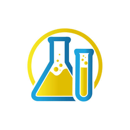 blue yellow flask sign Lab template vector design research science technology symbol