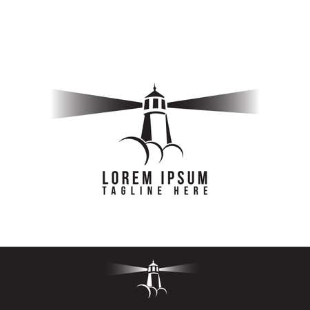 simple flat Beacon Lighthouse logo vector design illustrations Ilustrace