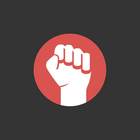 red rebelion style clenched fists freedom logo design vector illustration