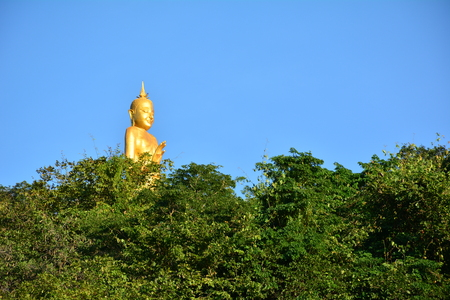 big behind: Big buddha statue behind trees and clear sky.