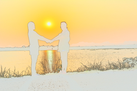 people on nature background with sun, white silhouette style Stock Photo