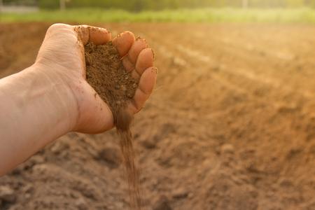 손에 토양 재배 흙. 지구 또는 자연 배경으로 땅입니다.