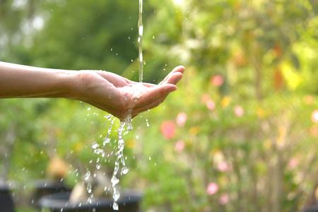 물 자연 배경에 여자 손에 붓는. 스톡 콘텐츠