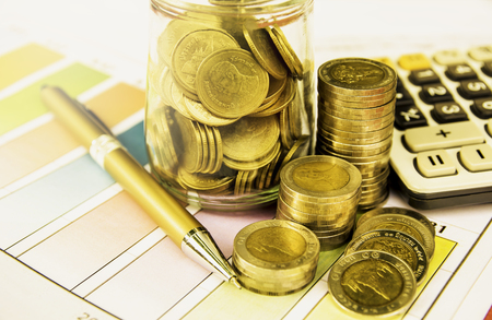 Stock financial indices with stack coin. Financial stock market in accounting market economy analysis.