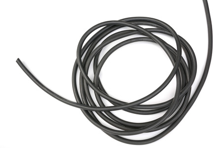 black wire isolated on a white background abstraction. 版權商用圖片