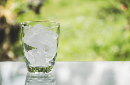 Ice cube in the glass on table with nature background Foto de archivo