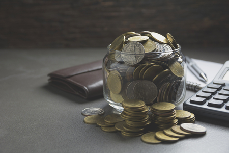 Double exposure stock financial indices with stack coin. Financial stock market in accounting market economy analysis. Stock Photo