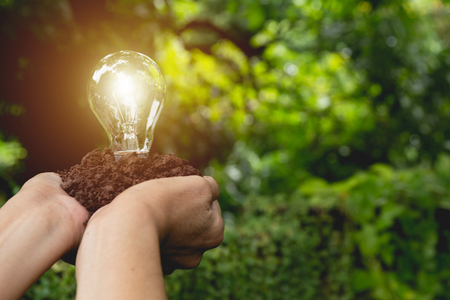 chandelier: Hand of person holding light bulb with soil for idea, success and solar energy concept.
