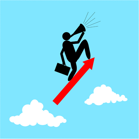 Vector of Businessman standing on a flying arrows. Business and upwards concept. Illustration