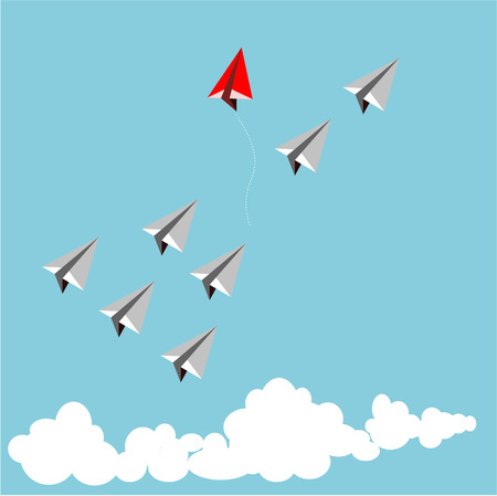 Paper red airplane as a leader among white airplane , leadership, teamwork concept. Illustration