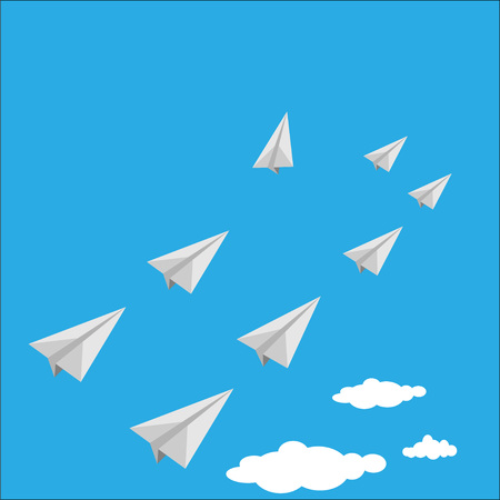 Vactor of paper airplane as a leader among white airplane , leadership, teamwork concept.
