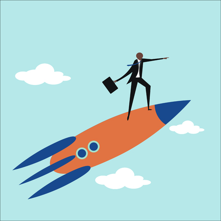business graphics: Businessman standing on a flying rocket. Business and upwards concept.