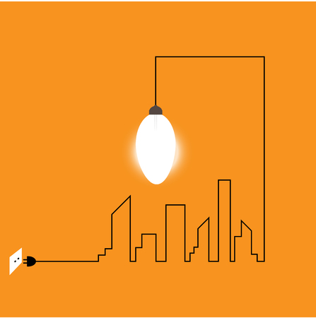 Creative wire of light bulb with buildings and landmarks, idea and inspiration concept. City with light bulb, vector illustration.