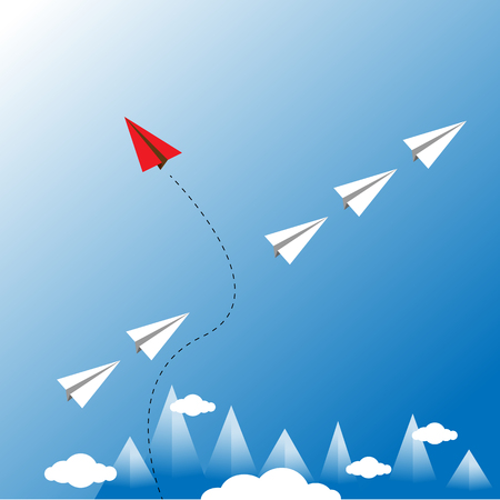 Vector of paper red airplane with white airplane, leadership, teamwork concept. Illustration