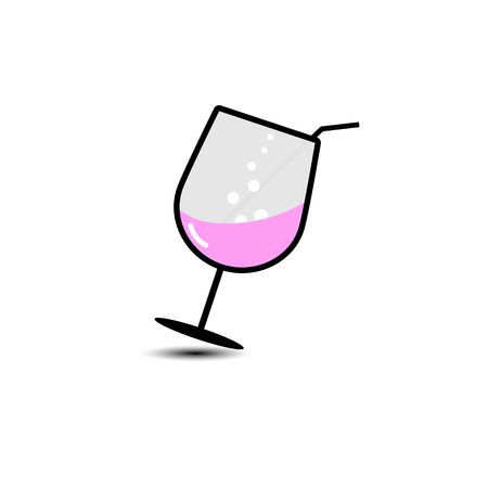vector of wineglass with red wine icon isolated on white background.