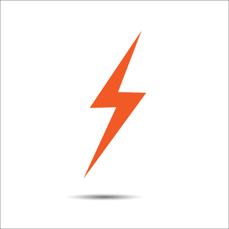 Lightning flat icons.  Simple icon storm or thunder and lightning strike isolated.
