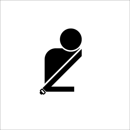 Vector of passenger with seat belt. Man in seat belt icon.
