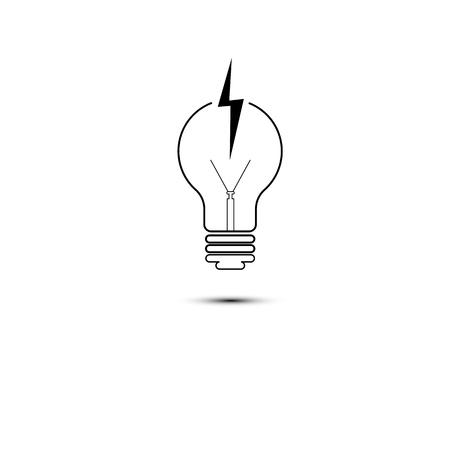 Light bulbs with glowing one. 向量圖像