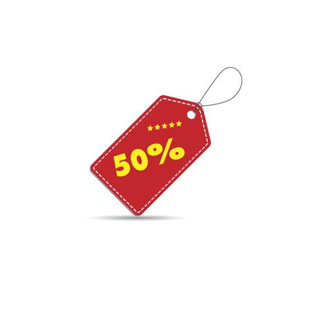 Tag discount 50 percent off label.