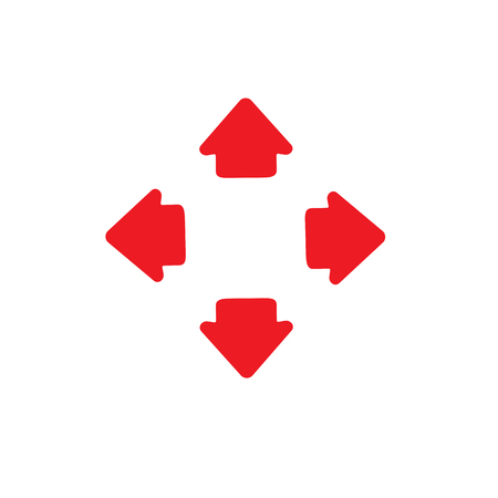 Four way arrows left and right directions opposite. Illustration