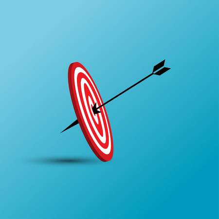 Vector illustration of target with arrow icon. Perfect shot with arrow in bull's eye of archery.