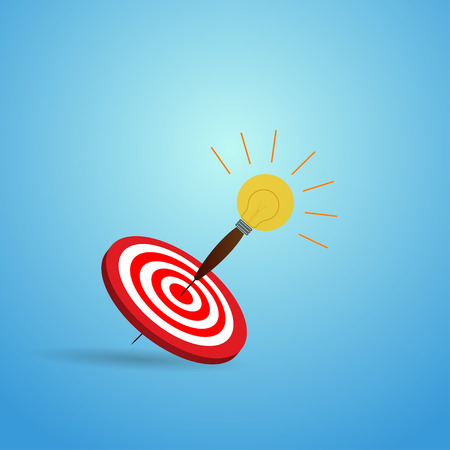 Vector Illustration of target with light bulb arrow icon. Perfect shot with arrow in bulls eye of archery.