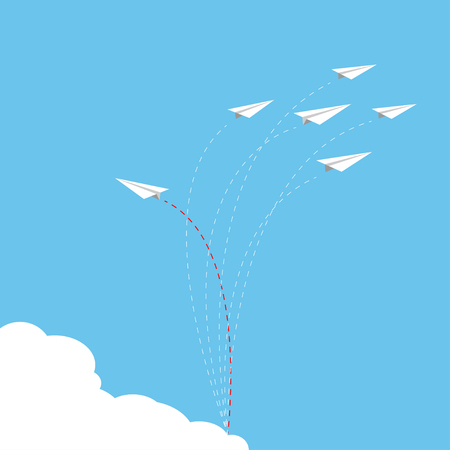 Paper airplane as a leader among another airplane , leadership, teamwork on blue sky background. Illustration