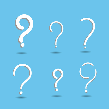 Question mark sign icon. FAQ sign symbol on blue background. Vector flat design style.