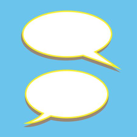 set of stickers of speech bubbles. Blank empty white speech bubbles