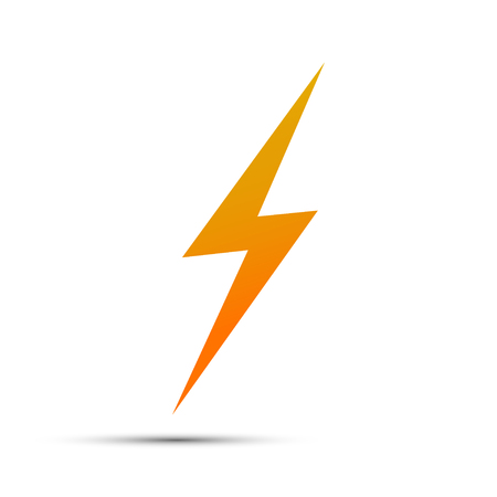 Lightning flat icons. Simple icon storm or thunder and lightning strike isolated. Illustration