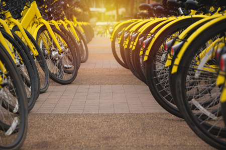 Rental bikes in urban. Shared bicycle public bicycle. Stock Photo