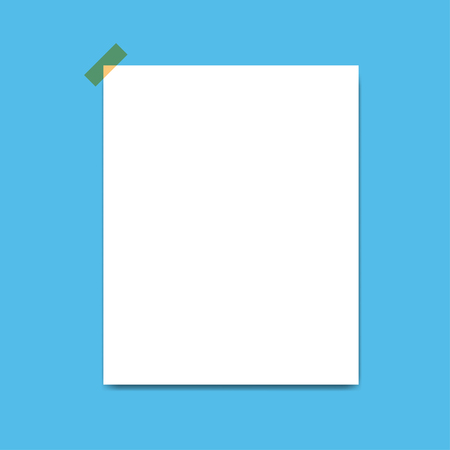 Blank squared notepad pages and tape. Note paper stuck with beige sticky tape.