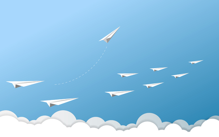 Paper airplane as a leader among another airplane, leadership, teamwork on blue sky background.