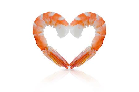orange and heart shaped shrimps isolated on a white background