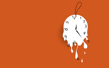 Melting clock flat design vector illustration on orange background.