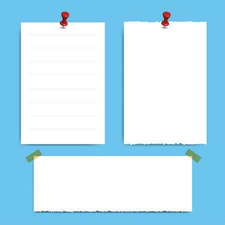Blank squared notepad pages and pin. Note paper stuck with red pin. Illustration